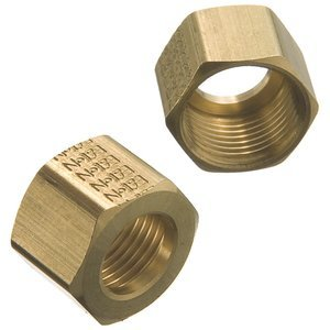 1/4'' Tube Brass Self-Align Compression Nut, (Bag of 50)