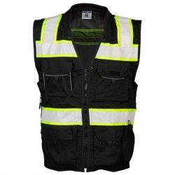ML Kishigo - Black Heavy Duty Safety Vest Size: Large