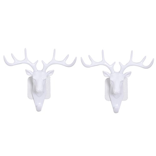 YIFAN Decor Hooks 2Pack, Deer Head Antler Decorative Wall Hook Self Adhesive Door Wall Hanger Hooks for Home Decor Coat Hat Bag Hanging(White)