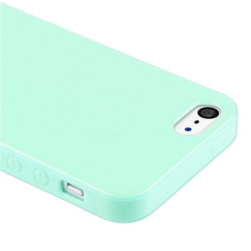 eForCity TPU Rubber Skin Case Compatible with Apple® iPhone® 5 / 5S, Mint Green Jelly