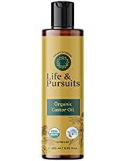 Organic Castor Oil (200 ml), USDA Certified, 100% Pure, Cold-pressed, Hexane Free | Life & Pursuits Castor Oil for Hair Growth, Eyebrows, Eyelashes and Dry Skin