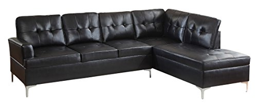 "Homelegance Barrington 109"" x 108"" PU Leather Chaise Sofa, Black"
