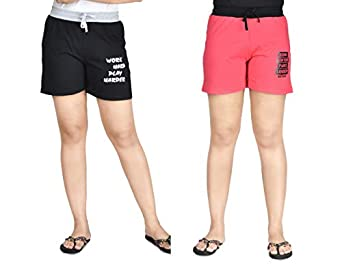 Club A9 Women's Cotton Printed Shorts   Short Pants   Hot Pants (Pack of 2)