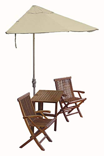 Blue Star Group Terrace Mates Villa Deluxe Table Set w/ 7.5'-Wide OFF-THE-WALL BRELLA - Antique Beige Olefin Canopy