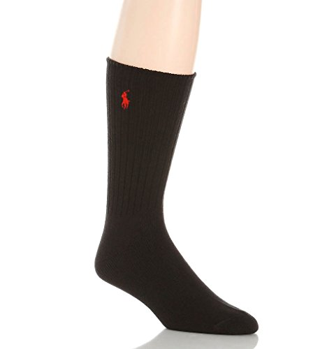 Polo Ralph Lauren Casual Socks - Polo Ralph Lauren Men's Classic Crew Socks (Black)
