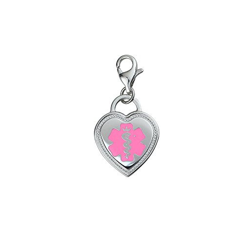 Divoti Deep Custom Laser Engraved Premier 316L Medical Alert ID Heart Charm w/Lobster - Id Charms Engravable Medical