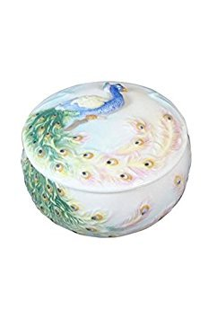 (3.25 Inch Glazed Porcelain Trinket Box Blue and Green Peacock)