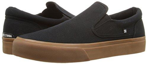 DC Men's Trase Slip-On Tx Skateboarding Shoe, Black/Gum, 7.5 M US