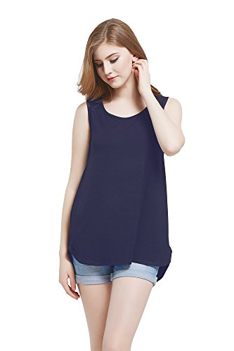 Modal Sleeveless Knit Top (Modeway Womens Modal Soft Jersey Knit Sleeveless High Low Tank Top(Navy,S) BF04-1)