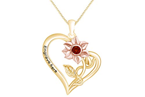 (AFFY Personalized Round Simulated Garnet Two Tone Sunflower with Heart Pendant Necklace in 14k Yellow Gold Over Sterling Silver)