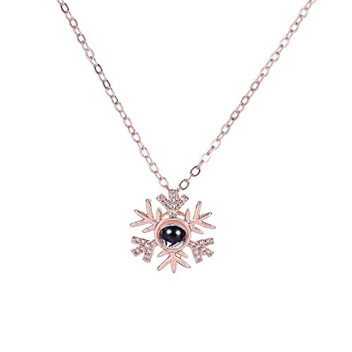 NIHAI Snowflake Shape Pendant Choker 100 Different Languages Expressing I Love You Memory Projection Necklace Diamond Pendant Jewelry Romantic Valentine's Day Gift (Rose Gold)