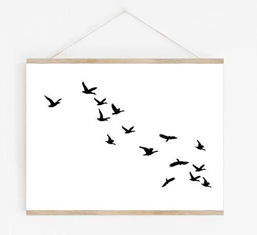Flying Birds Abstract Wall Art - 11x14 UNFRAMED Print - Minimalist Black & White Bird Silhouette Wall Decor. (Shore Art Bird Wall)