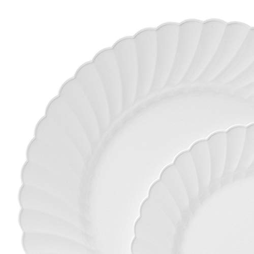 TTG 75-Piece Plastic Dinnerware Set | Scallops Collection | (25) Dinner Plates, (25) Salad Plates  & (25) Bowls| Heavy Duty Premium Plastic Plates for Wedding, Parties, Camping & More (Ivory)