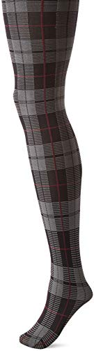 HUE Women's Fashion Tights with Control Top, Assorted, Plaid - Black, - Tights Tartan