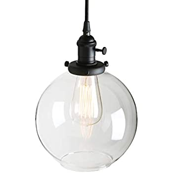 Pathson Black Pendant Light With Globe Round Glass Shade Metal Base