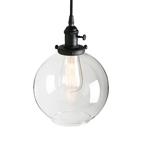 Pathson Black Pendant Light with Globe Round Glass Shade, Metal Base Cap and Adjustable Textile Cord, Industrial Style Retro Hanging Lamps for Dining Room Kitchen Island -