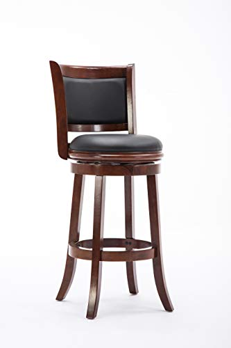 Boraam 49829 Augusta Bar Height Swivel Stool, 29-Inch, Cherry Black Cherry Bar Stools
