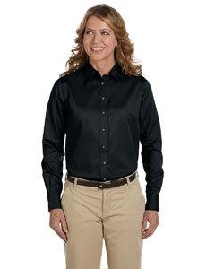 Harriton Ladies' Long-Sleeve Twill Shirt>S BLACK M500W