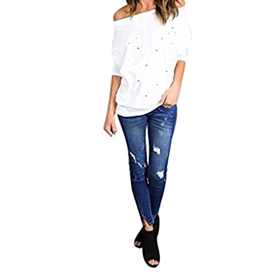 Fheaven Womens Little Hollow Out Long Sleeve Off Shoulder Shirt Loose Casual T-Shirt