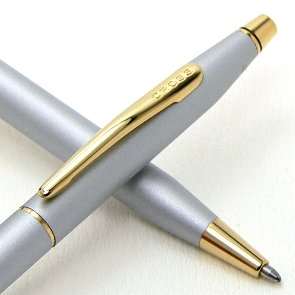 Cross Made in the USA Limited Edition Lumina Pearlescent Gray Satin and 23k Gold Ball Pen. Made in Lincoln , RI. USA by A.T. Cross A.T . CROSS