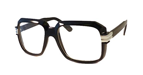 HIP Hop Rapper Retro Large Oversized Clear Lens Eye Glasses (Black/Silver)