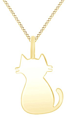 Silhouette Cat  Animal Love Charm Pendant Necklace in 14K Yellow Gold Over Sterling Silver (Cat Charm Yellow Gold)
