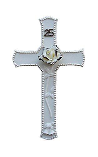 Roman 25th Silver Wedding Anniversary Porcelain Religious Wall Cross ()