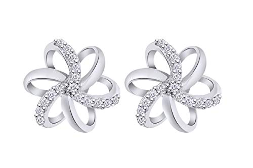 Aria Jewels Diamond Accent Spiral Flower Stud Earrings in 14K White Gold Over Sterling Silver For Women (1/10 cttw)