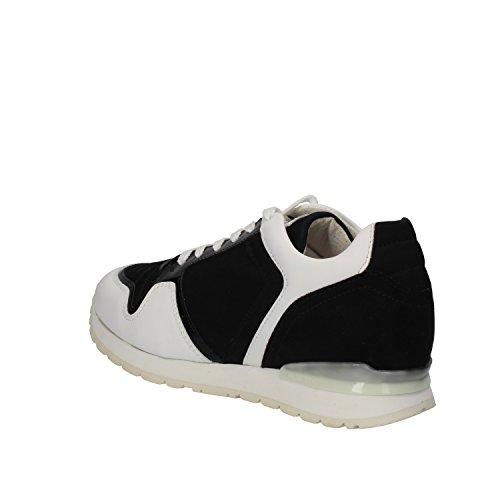 BIKKEMBERGS Sneakers Donna Nero Bianco Tessuto Pelle Vernice AE447