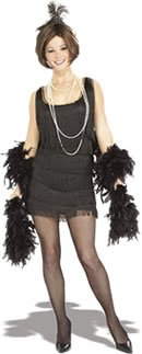 Flapper Adult Costume Black - (Halloween Parties In Chicago For Adults)