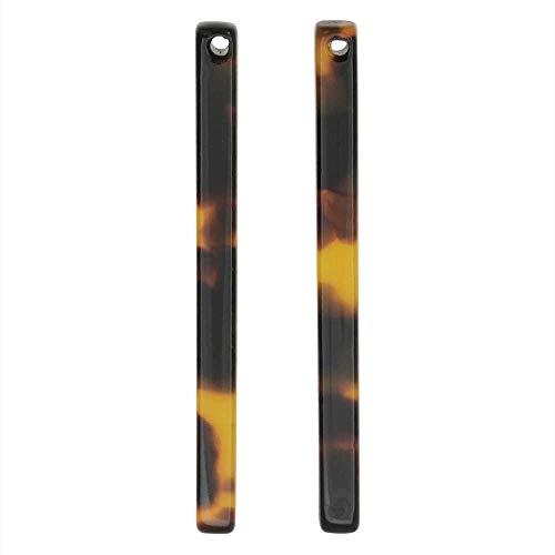 - Zola Elements Resin Pendant, Bar Drop 3x38.5mm, 2 Pieces, Brown Tortoise Shell