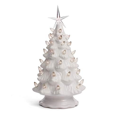 Milltown Merchants Ceramic Christmas Tree - Tabletop Christmas Tree Lights - (11.5