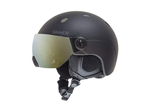 SINNER Titan Visor Unisex Outdoor Snow Sports Snowboard & Ski Helmet Black for Men, Women & Youth - Light Weight, Style Performance & Safety. Comfortable with Adjustable fit. Size L]()