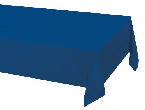 Poly Lined Tablecloths (Creative Converting Touch of Color Plastic Lined Table Cover, 54 by 108-Inch, Navy)