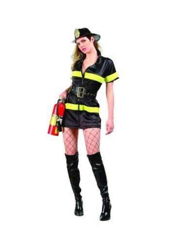 RG Costumes Women's Plus-Size Fire Girl, Black/Yellow, X-Large