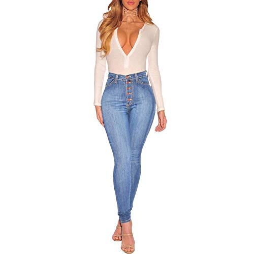 ajustados Cielo Azul alto pantalones Jeans de talle vaqueros de iShiné jeans elástico alto HqPX6477w