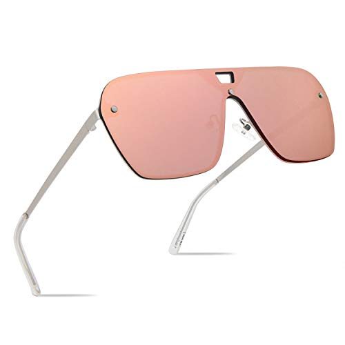 FaceWear Rimless Mirrored Sunglasses Oversized One Piece Frameless Eyeglasses Men Women FW1019 - Oversized Sunglasses Mens