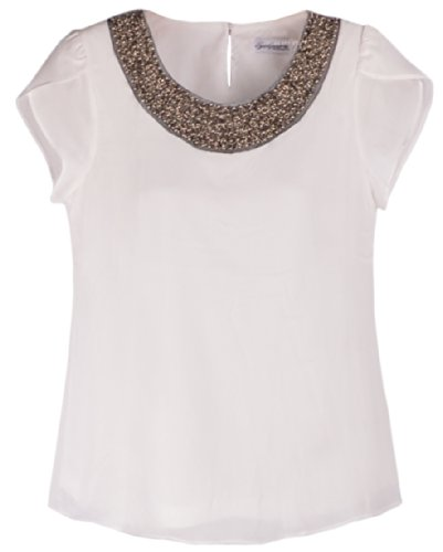 Quality Embellished Bead Collar Ruffle Shoulder Tops T-Shirts Blouse 16P