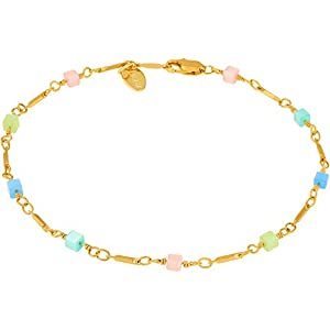 LIFETIME JEWELRY Colorful Anklet for Women & Teen 24k Real Gold Plated Bracelet