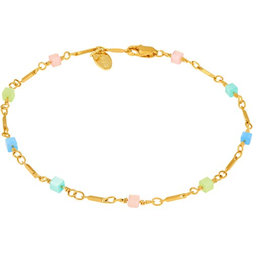 Lifetime Jewelry Ankle Bracelets for Women & Teen Girls [ 24k Gold Plated Colorful Square Beads Anklet ] Sturdy Bracelet with Free Lifetime Replacement Guarantee - 9-11 inches Charm Bracelet (9.00) ()