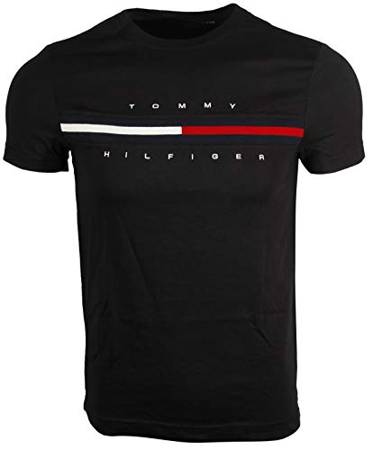 Tommy Hilfiger Mens Classic Fit Big Logo T-Shirt (XL, Black)