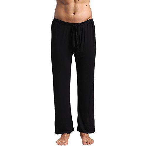 Cheap Mech-Eng Men's Modal Cotton Yoga Pants Lounge Trousers with Pockets Black M
