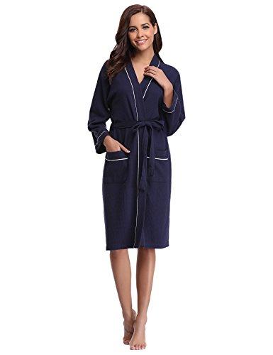 Aibrou Bathrobes for Women Waffle Weave Spa Robe Womens Kimono Lightweight Cotton Robe