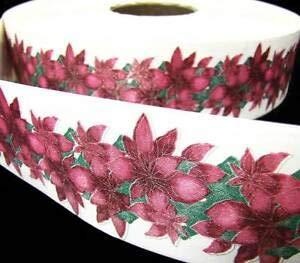 (10 Yds Christmas Poinsettia Acetate Ribbon 2 1/3