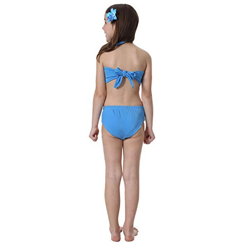 2019 3 Pcs Mermaid Tails for Swimming for Girls Can Add Monofin, Bikini Swimsuit Set Mermaid Tails Birthday Gifts for Kids by AMENON (Image #3)