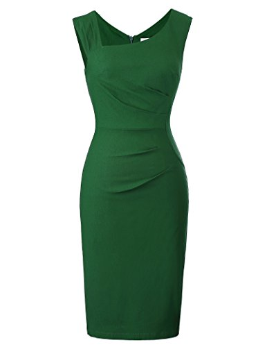 Belle Poque Women's Summer Sexy V-Back Bodycon Pencil Dress for Cocktail Party Dark Green Size XL BP302-2 from Belle Poque