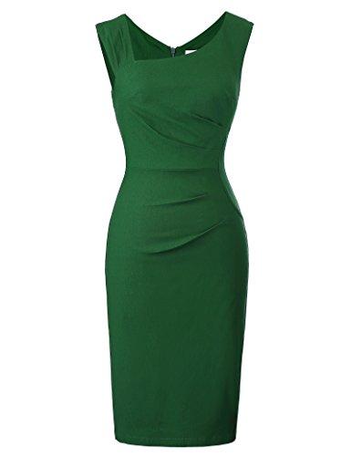 Belle Poque Women Sleeveless Retro Business Pencil Dress Dark Green Size S BP302-2 ()