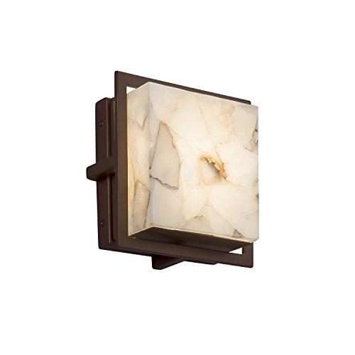 Alabaster Rocks! - Avalon Square LED Outdoor Wall Sconce with Alabaster Rocks Shade - Dark Bronze Finish