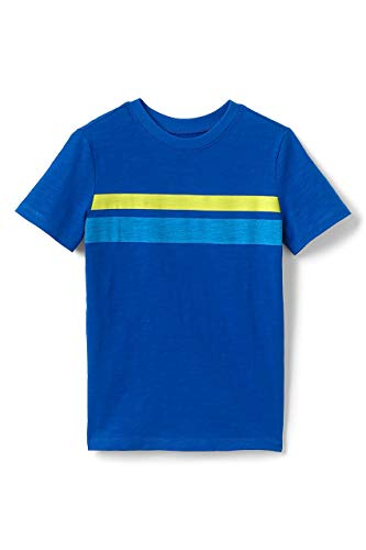 Lands' End Boys Chest Stripe Slub T Shirt Vibrant Blue
