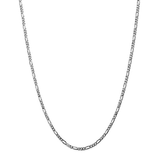 Real 14kt White Gold 3.0mm Flat Figaro Chain; 16 inch ()